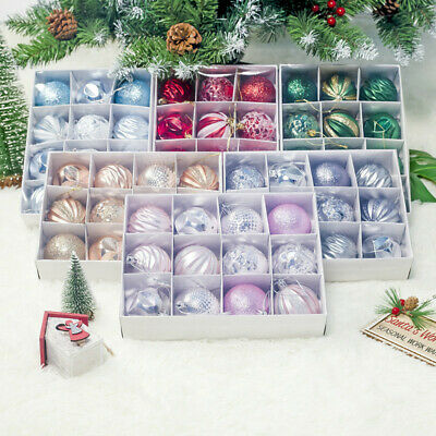 12X Christmas Tree Balls Baubles Glitter Hanging Xmas Party Ornament Home Decor • 6.79£
