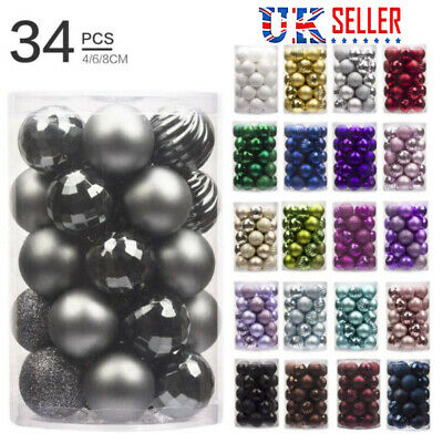 34 X Christmas Ball Ornament Christmas Tree Decoration Ball For Home Party Decor • 6.32£