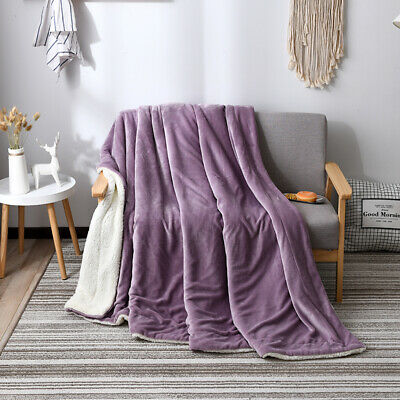 Cashmere Velvet Warm  Bed Sofa Blanket 2 Layer Revisible Throw Blanket New • 54.39£
