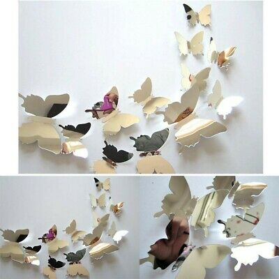 12 Butterfly Silver 3D Mirror Wall Stickers Home Room Art Decor DIY Decal • 2.49£