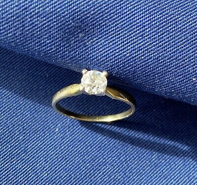 18 Ct Yellow Gold Solitaire Diamond Ring Used • 99£