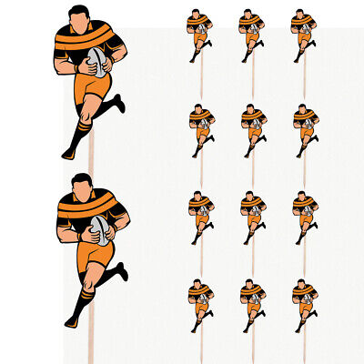 £4.99 • Buy Rugby Player Birthday Cupcake & Party Food Toppers Decorations Picks 14 Pack