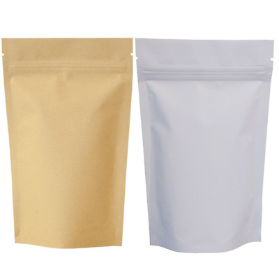 Kraft Paper Bag Packets Stand Up Pouch Zip Lock Resealable Heat Seal Brown White • 2.08£
