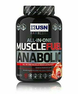 USN All In One Muscle Fuel Anabolic Protein Shake Powder Strawberry 2Kg • 26£