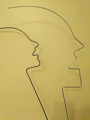 Two Faces Metal/Steel/Wire Sculpture Male/Female Face Statues Modern Art • 15£