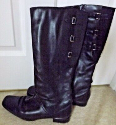 Ladies BOOTS. Size 5. Black, Knee High. 'Pavers' Brand. Elastic Insets. • 10£