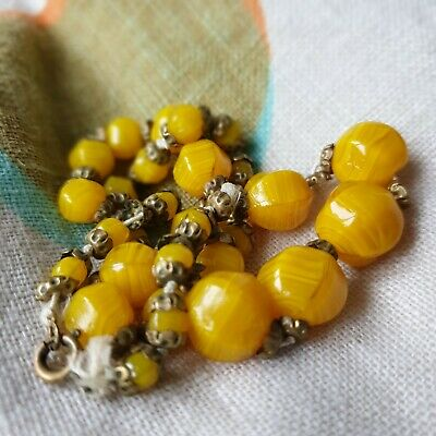 Antique Butterscotch Necklace Bead Yellow Amber / Glass  • 8£