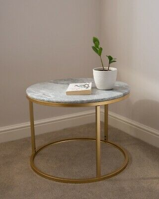 £99.99 • Buy Solid Marble Top Round Coffee Table Lounge Living Room Modern Gold Legs