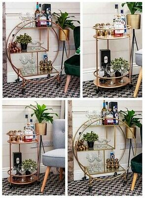 £59.99 • Buy Rose Gold Round Drinks Trolley With 2 Or 3 Tier 30's Art Deco Vintage Home Ba...