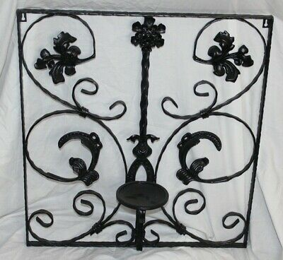 Vintage Victorian Style Wrought Iron Metal Wall Mounted Candle Holder Scrolls • 153.86£