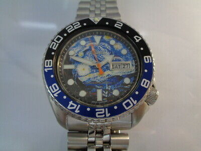 $ CDN92.07 • Buy Seiko Diver Mens Watch Day & Date Automatic 6309-7290 Starry Night Mod Dial
