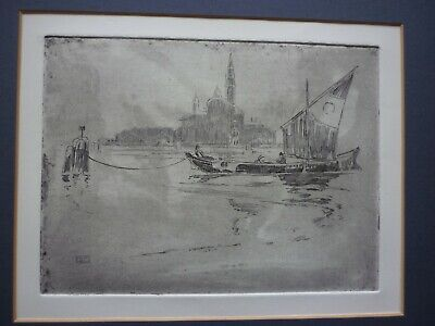 Etching Of Venice Lagoon, Signed With Monogram, B.S • 30£