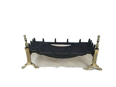 Large 30  Cast Iron   Swans Nest   Style Fire Basket With Brass Fire Dogs • 85£
