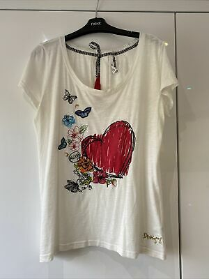 Ladies DESIGUAL T-shirt Top, XL Extra Large 14, White/Cream Butterfly/Floral • 2£
