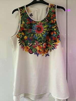 Ladies DESIGUAL Sleeveless / Vest Top XL Extra Large 14-16 Bright Floral • 1.50£