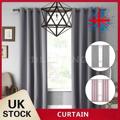 Heavy Thick Curtain Thermal Blackout Curtains Ready Made Eyelet Ring Top Pair • 19.59£