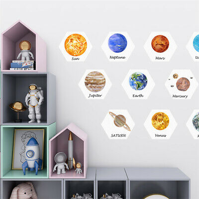 Hexagon Planet Stars Galaxy Sticker Non-Slip Kids Wall Floor Decal Room Decor • 11.99£