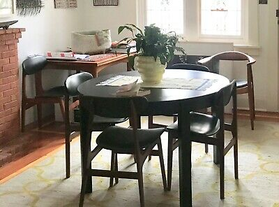 AU40 • Buy Dining Table, Round, Extendable, Seats 4 To 6. Black Timber, Sturdy