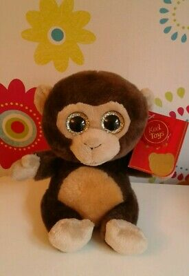 Rare Keel Toys Sparkle Eyes Monkey Brown Seated Monkey Soft Toy - Excellent!! • 9.99£