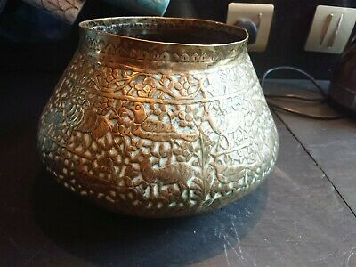 Indian Brass Bowl, Planter, Dish,,, 6 High X10 Wide, Engraved With Birds Etc  • 16.53£