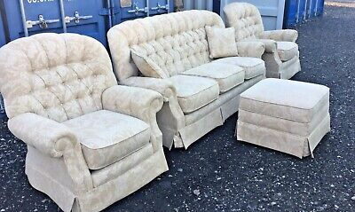 Vale Bridgecraft 3 Piece Suite With Matching Storage Footstool- Collection Only  • 220£