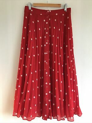 & Other Stories 38 UK 10-12 Pleated Skirt - Red With White Polka Dots - Paris • 10£