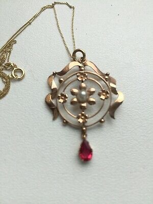 Solid Yellow Gold 9ct Ruby And Pearl Edwardian Pendant • 75£
