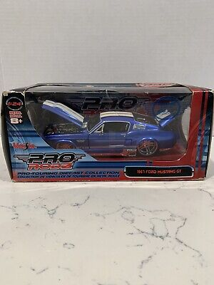 $38.80 • Buy 1967 Ford Mustang Gt Pro-touring Blue White Stripes 1:24 Maisto Pro Rodz Diecast