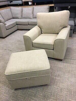 M&S Nantucket Armchair & Storage Footstool In Carron Natural Fabric RRP £1248 • 525£