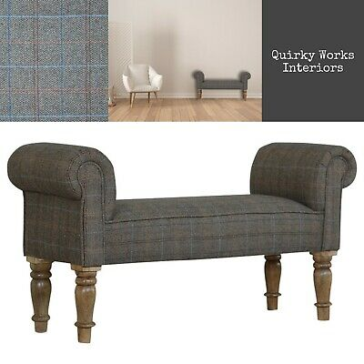 Ottoman Bench Seat Tweed Fabric Window Bench Chaise Lounge Small Sofa Bedroom • 225£