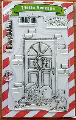 Cute Cat Christmas Door 'Home Sweet Home Cat' - 5 Stamps Little Scamps • 4.25£