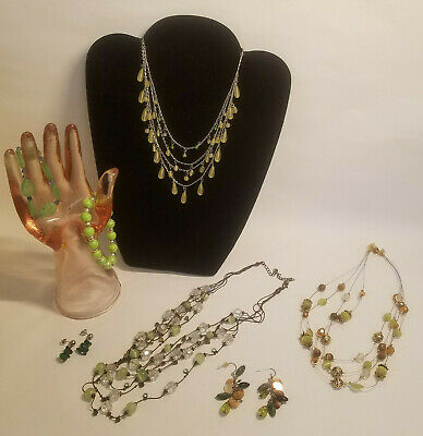 $ CDN31.32 • Buy Jewelry Lot Green Brown Stones Natural Fun Necklaces Bracelets Pierced Earrings