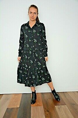 Women Ex New Look Black With DitsyFloral Print Midi Shirt Smock Dress Size 10-16 • 12£