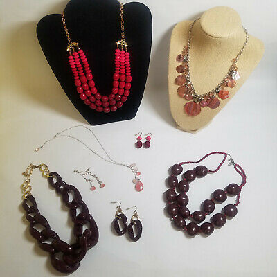 $ CDN31.32 • Buy Jewelry Lot Pink Red Heart Necklaces Pierced Earrings Costume Lia Sophia