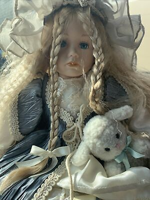 $ CDN26.29 • Buy Porcelain Doll Vintage Girl With Basket Of Flowers And Lamb.   Sitting