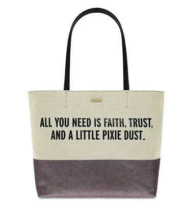 $ CDN263.05 • Buy Disney Kate Spade All You Need Is Faith Trust And Pixie Dust Tote Sealed Bag NWT