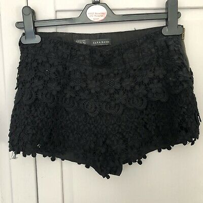 Zara Summer Black Crochet Lace Shorts Hotpants Zipper Boho Festival Size XS • 8£