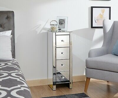 Tallboy Venetian 4 Drawer Mirrored Furniture Chest Of Drawers Crystal Handles • 129.99£