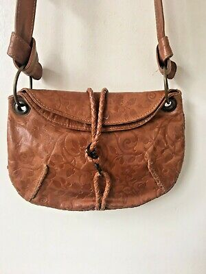 Vintage Women's Cross Body Tan   Brown Leather Bag Handbag Next Embossed Leather • 12£