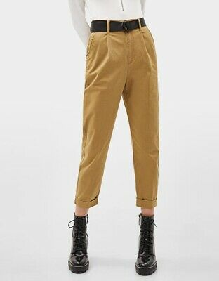 Bershka Khaki Beige Cropped Tapered Chino Trousers Pants EUR 38 UK 10  • 4£
