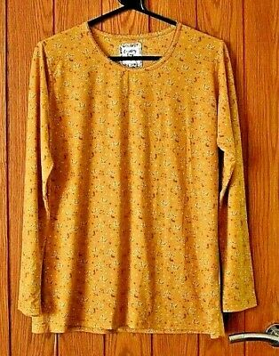 Mustard Yellow 'Country Rose' Soft Stretch Top - Size M - New • 4.99£