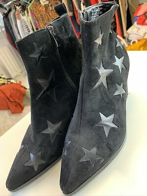 London Rebel Black Star Ankle Boots Size 7 Excellent Condition • 12.99£