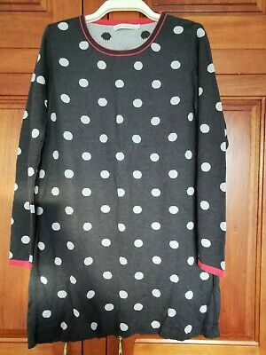 Next Size 20 Dark Grey Knitted Polka Dot Long Sleeved Dress With Pink Trim • 3.99£
