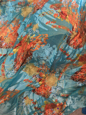 Blue Embroidered Chiffon Fabric With Gems • 29.50£