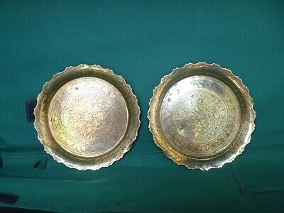 Vintage Indian Decorative Brass Plates / Dishes Circa 1914 - 1918 • 30£