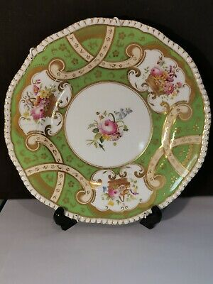 Antique Coalport Fluted Plate Hand Painted Flowers Green And Gold • 17.99£