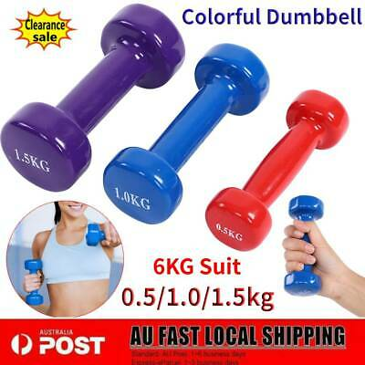 AU60.36 • Buy Colorful Dumbbell Weights Rack Set 3 Pairs 6kg Exercise Fitness Gym Dumbells NEW