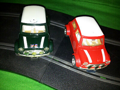 Scalextric Pair Of Mini Cooper (Green And Red White Roof) -   C328 And C329 • 8£