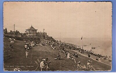 UNUSUAL 1915c BEACH & KINGS HALL BANDSTAND HERNE BAY KENT VINTAGE POSTCARD  • 0.99£