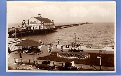 Super 1935 Old Car The Pier Herne Bay Kent Rp Photo Vintage Postcard  • 0.99£